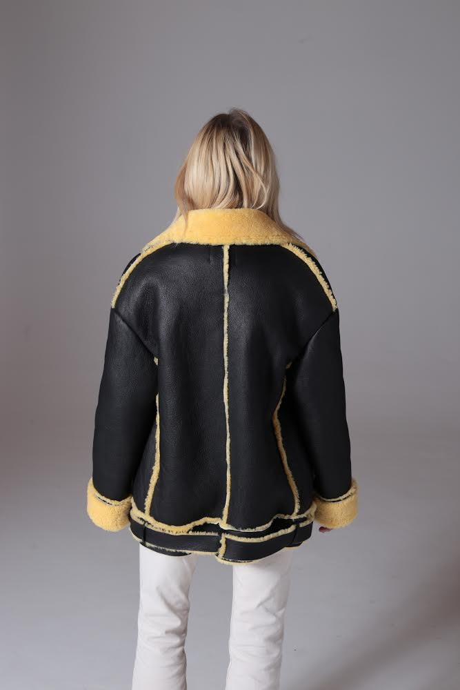 Black Shearling Moto - Lemon
