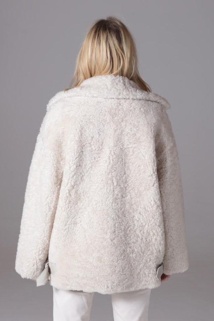 White Shearling Jacket with Buckle