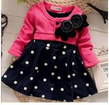 Polka Dots Dress and Cardigan with Flower set