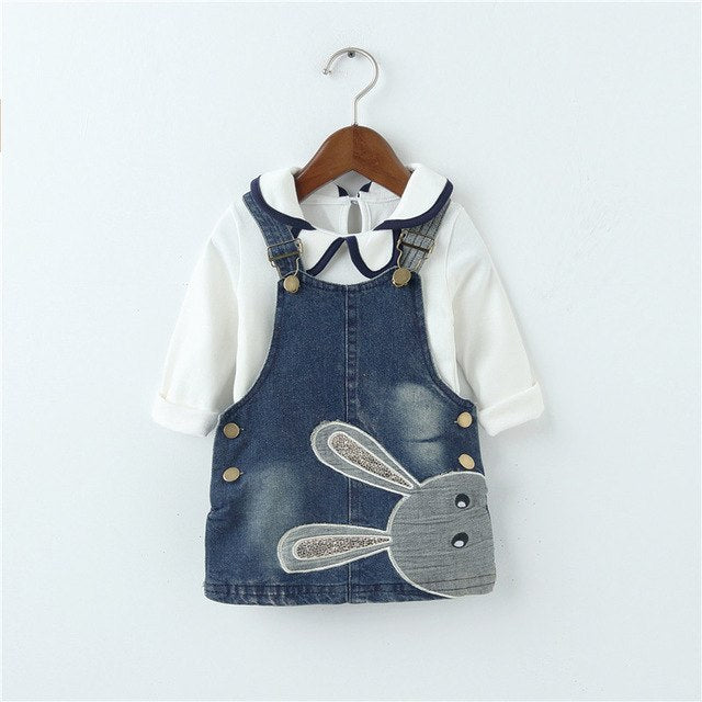 long sleeve white shirt with rabbit overall set