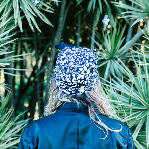 Wildflower' Black & White Floral Headscarf
