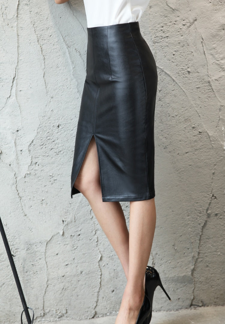 wholesale online how to purchase 100% top quality Black Leather Midi Skirt