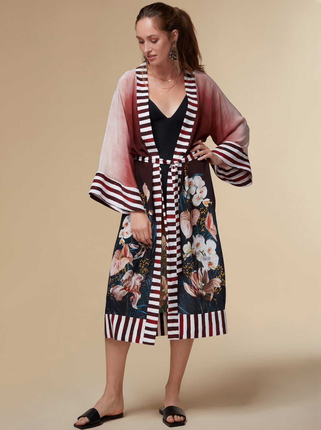 Front view of Kayll silk robe in Olivia print with striped trim