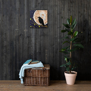Raven In the BTC Moon Canvas