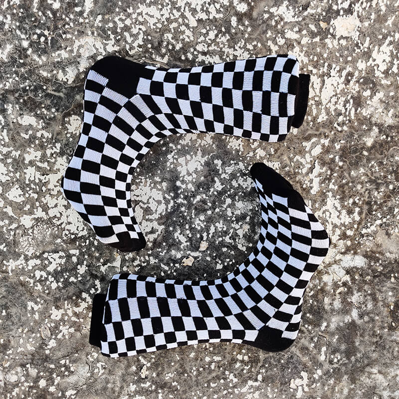 Black & Grey Checkered Socks-Socks-Dnasamplez