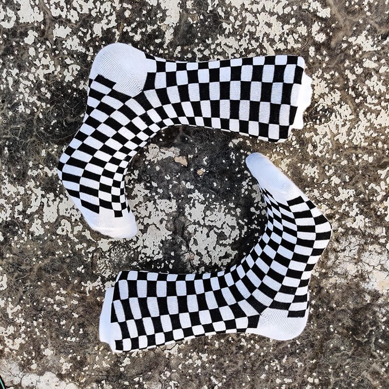 Black & White Checkered Socks-Socks-Dnasamplez