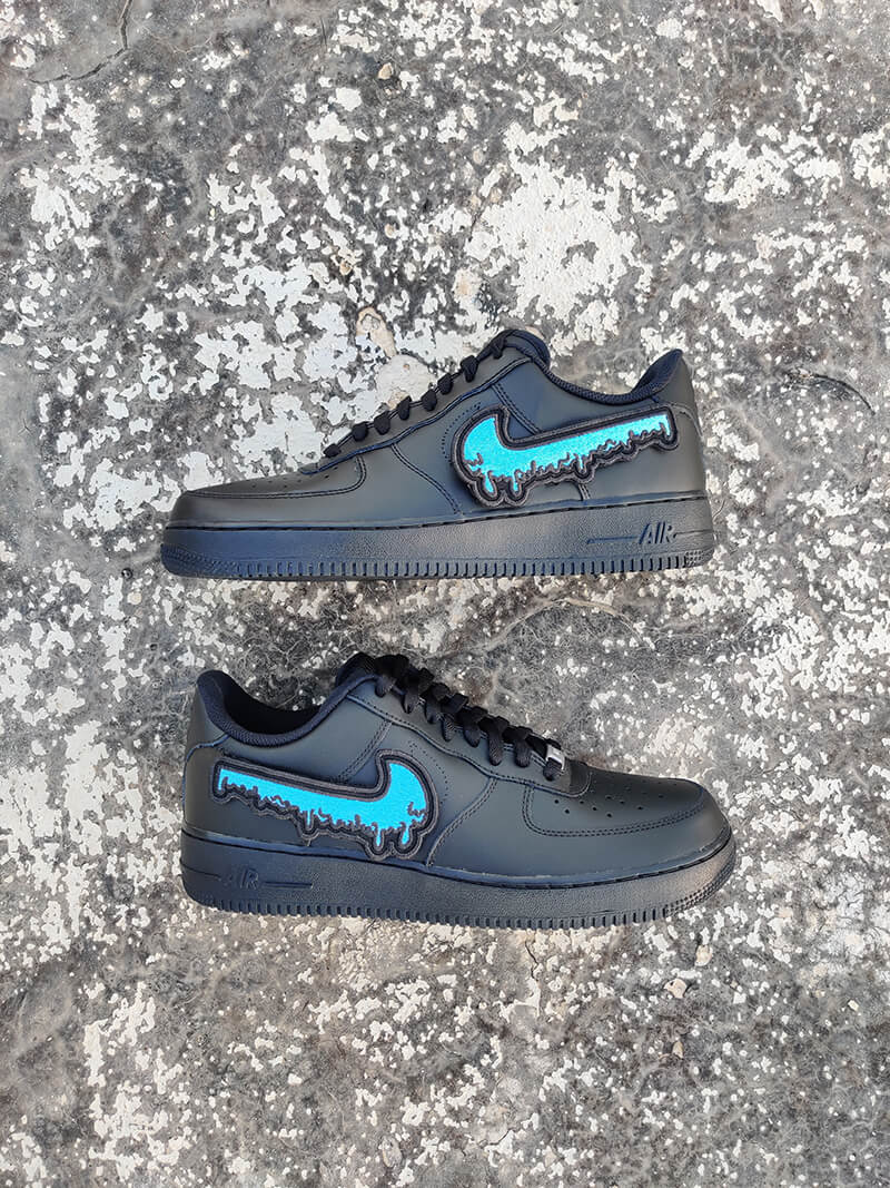 Blue Drip Af1- Black-Shoes-Dnasamplez
