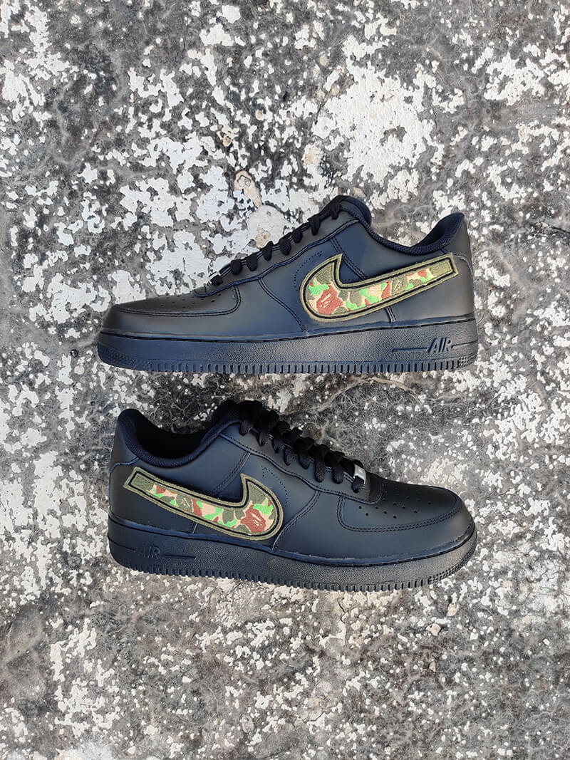 Camo Bape Inspired AF1- Black-Shoes-Dnasamplez