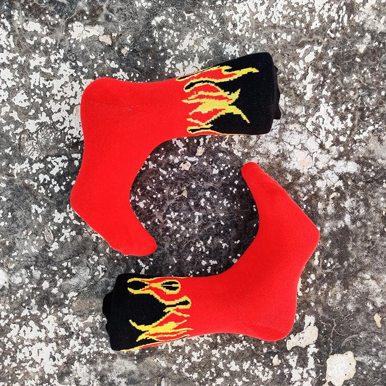 Red Flame Ankle Cut Socks-Socks-Dnasamplez