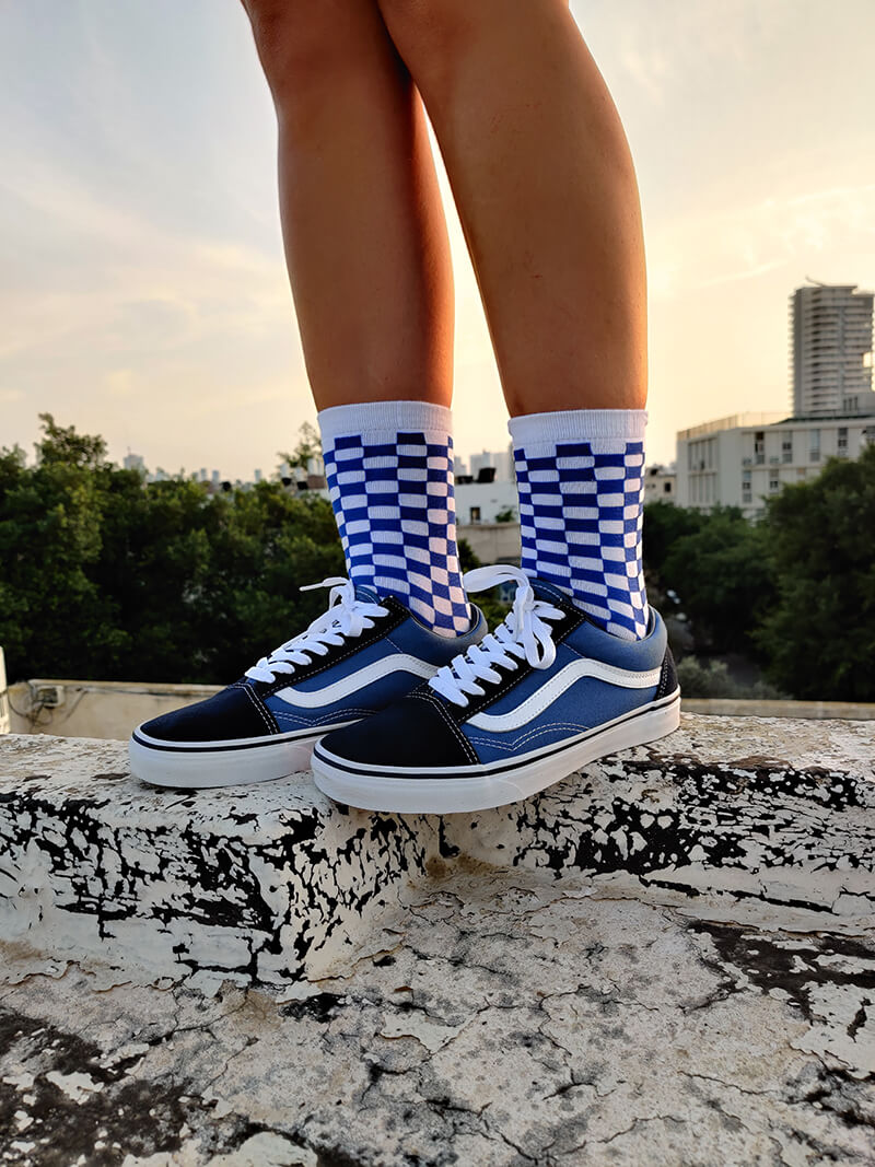 Blue & White Checkered Socks-Socks-Dnasamplez