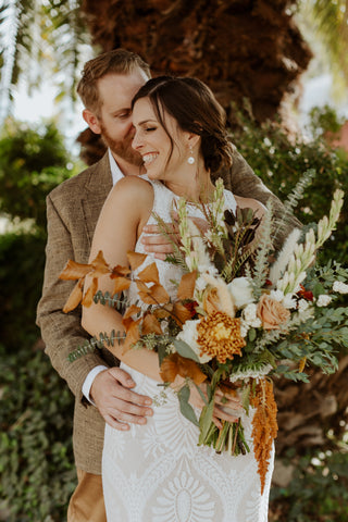 Fall Wedding Floral Bride and Groom