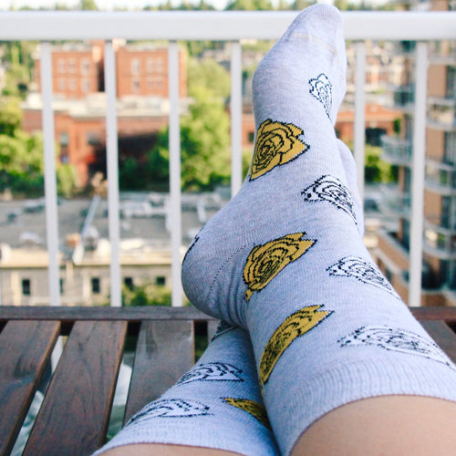 Grey Floral Socks by Friday Sock Co.