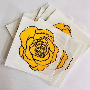 "Yellow Rose Decal (1.5"" x 1.5"") - Pack of 10"