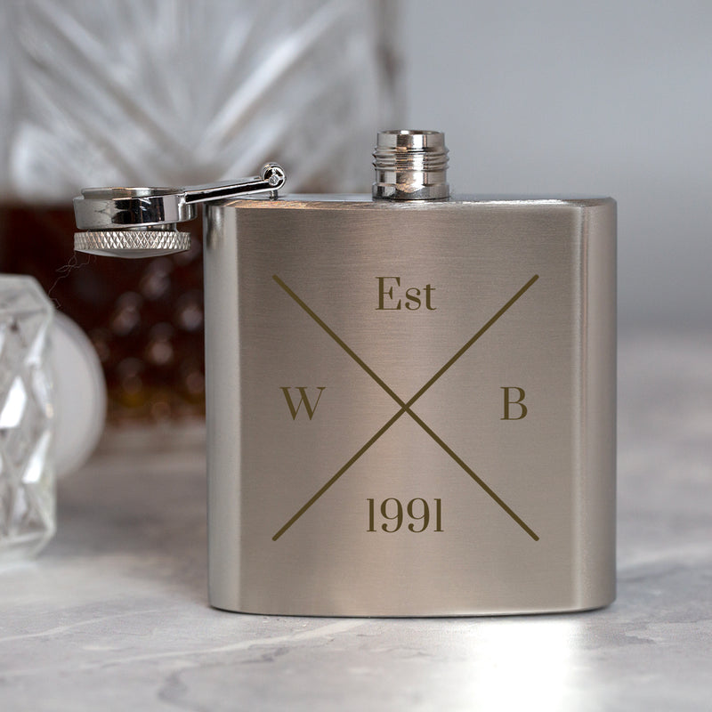 Personalised 3oz Silver Established Hip Flask In Pink Silk Gift Box