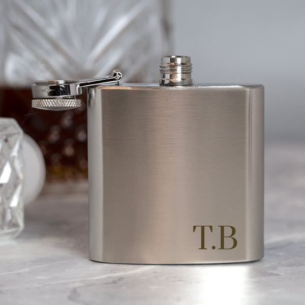 Personalised 3oz Silver Initials Hip Flask In Blue Silk Gift Box