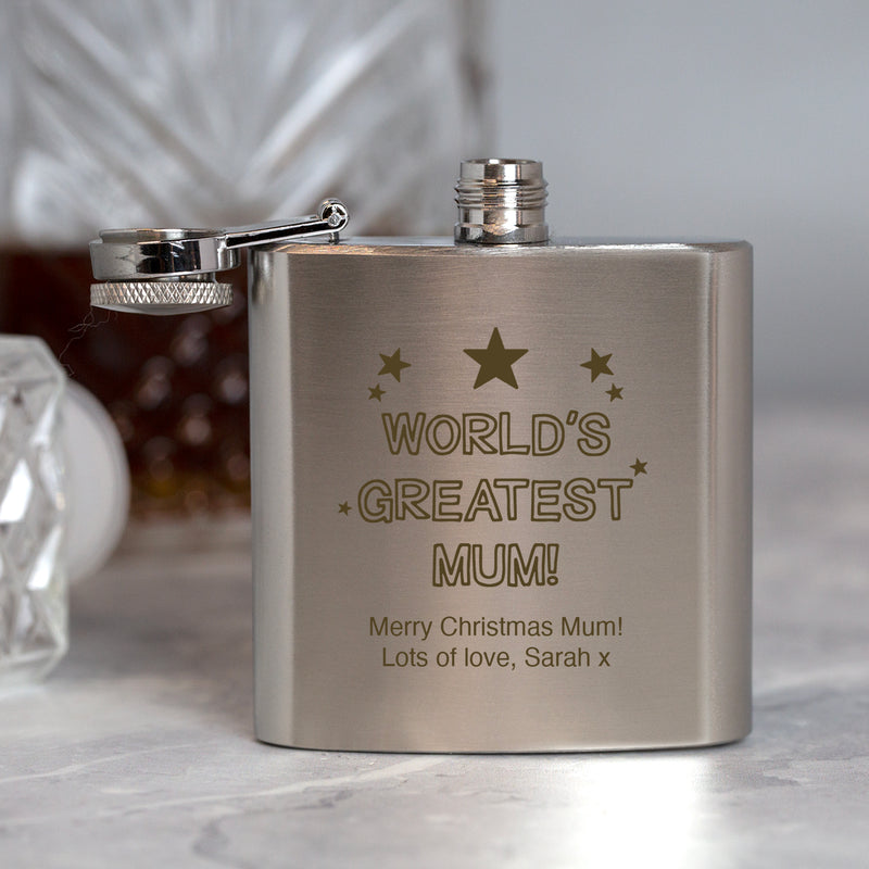 Personalised 3oz Silver World's Greatest Mum Hip Flask In Pink Silk Gift Box