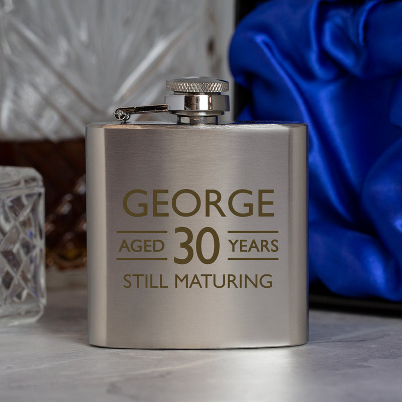 Personalised 3oz Silver Aged Birthday Hip Flask In Blue Silk Gift Box