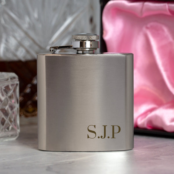 Personalised 3oz Silver Initials Hip Flask In Pink Silk Gift Box