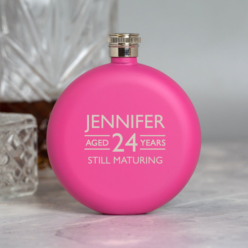 Personalised 5oz Round Pink Aged Birthday Hip Flask