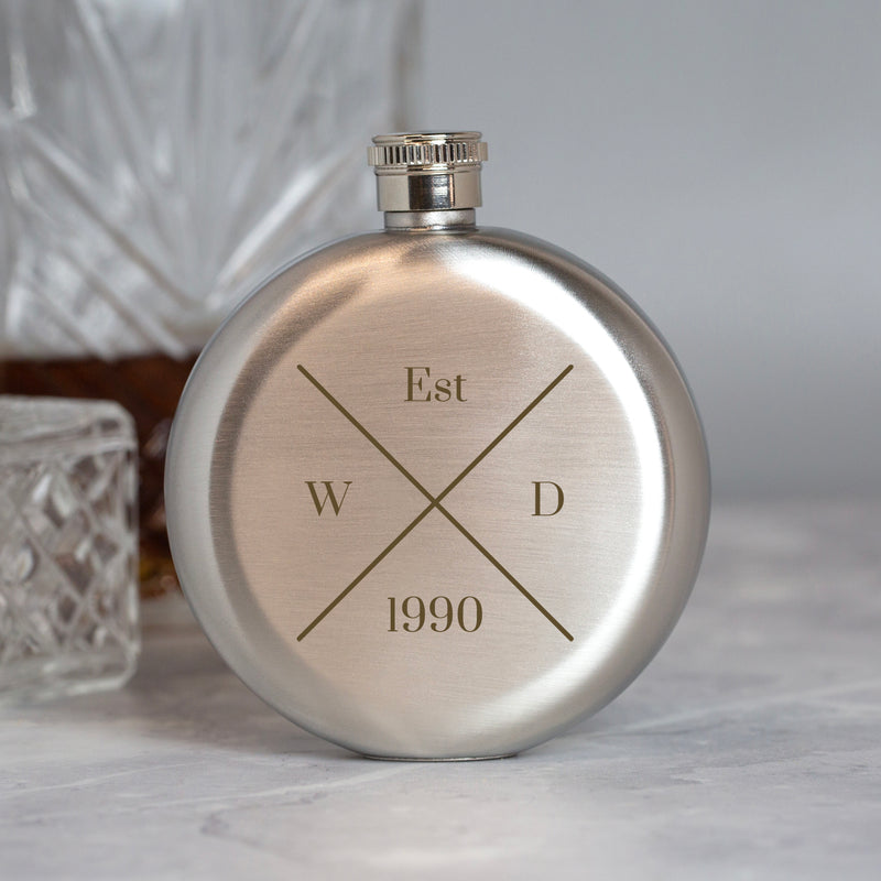 Personalised 5oz Round Silver Established Hip Flask