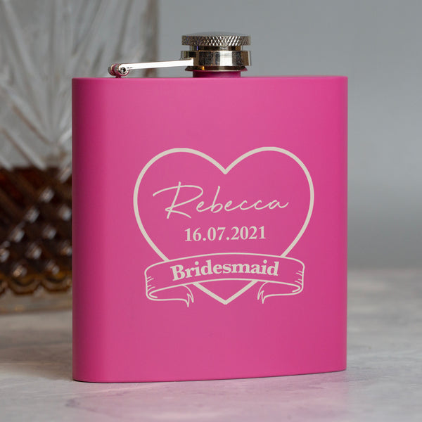 Personalised 6oz Pink Bridesmaid Hip Flask