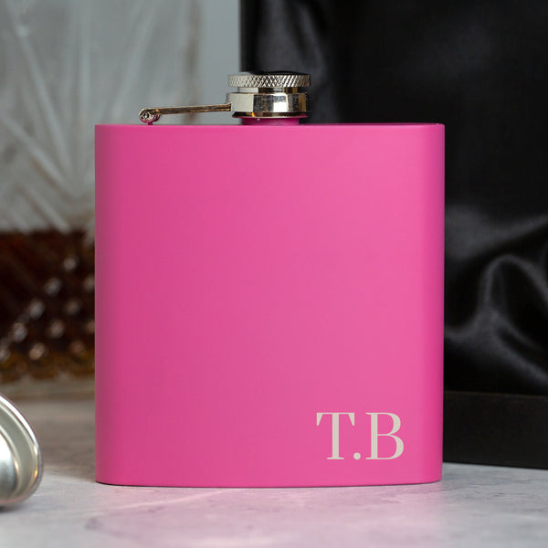 Personalised 6oz Pink Initials Hip Flask