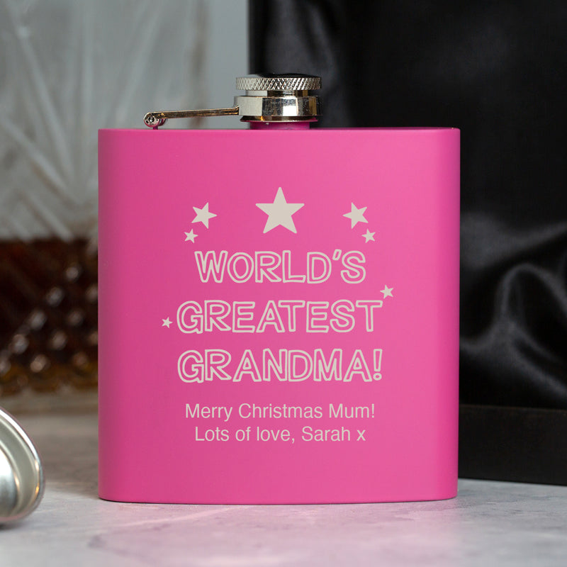 Personalised 6oz Pink World's Greatest Grandma Hip Flask