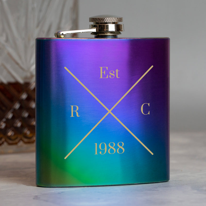 Personalised 6oz Rainbow Established Hip Flask