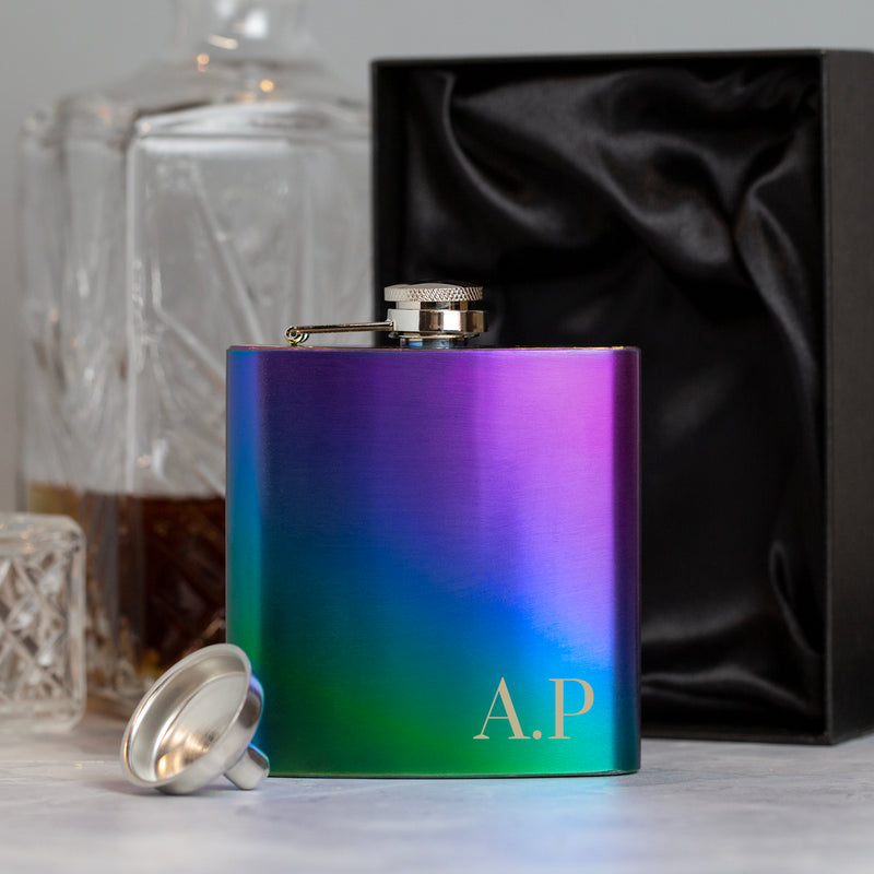 Personalised 6oz Rainbow Initials Hip Flask
