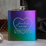 Personalised 6oz Rainbow Mother Of The Bride Hip Flask