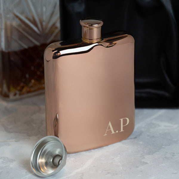 Personalised 6oz Rose Gold Initials Hip Flask
