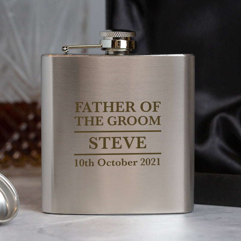 Personalised 6oz Silver Father Of The Groom Wedding Hip Flask
