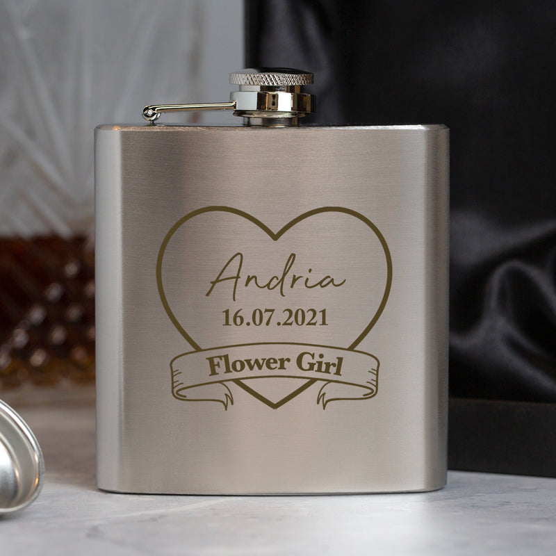 Personalised 6oz Silver Flower Girl Hip Flask