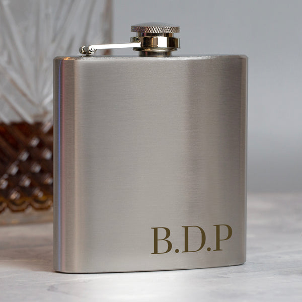 Personalised 6oz Silver Initials Hip Flask