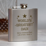 Personalised 6oz Silver World's Greatest Dad Hip Flask