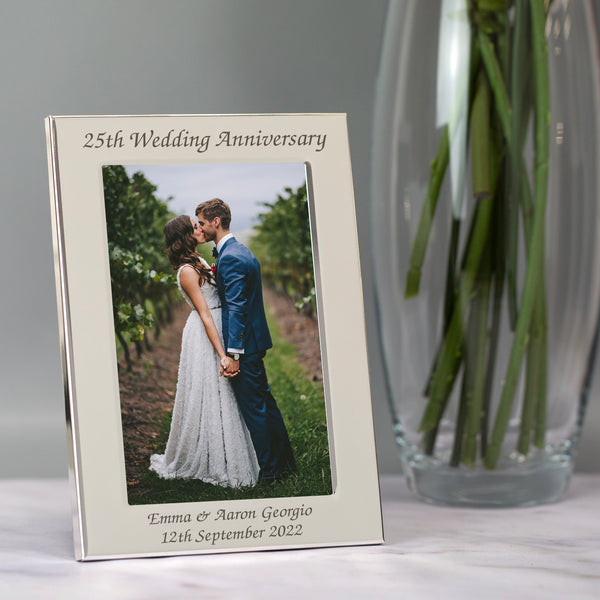 Personalised Silver 4x6 25th Wedding Anniversary Photo Frame