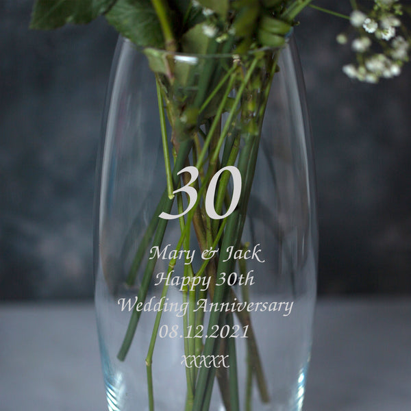 Personalised 30 Years Glass Bullet Vase