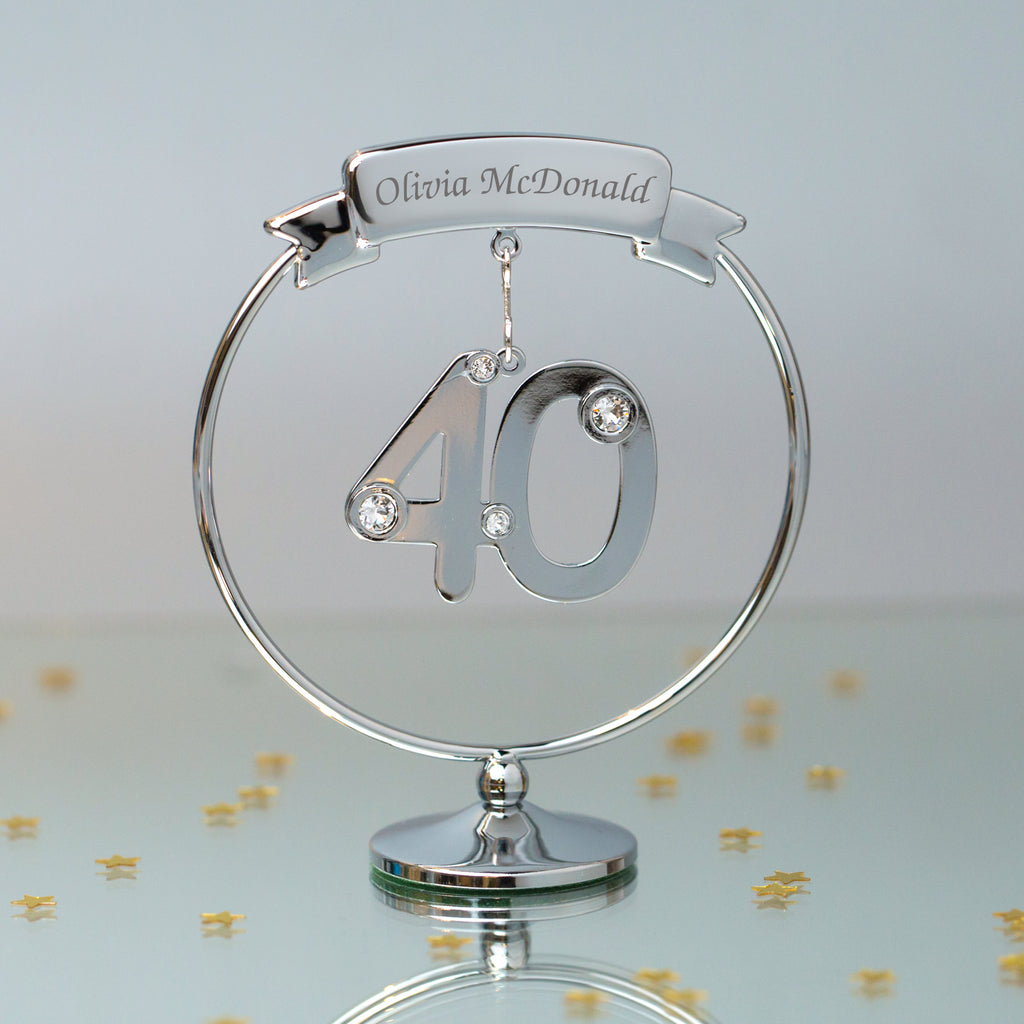 Personalised Crystocraft 40th Ornament