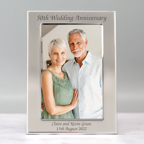 Personalised Silver 4x6 50th Wedding Anniversary Photo Frame