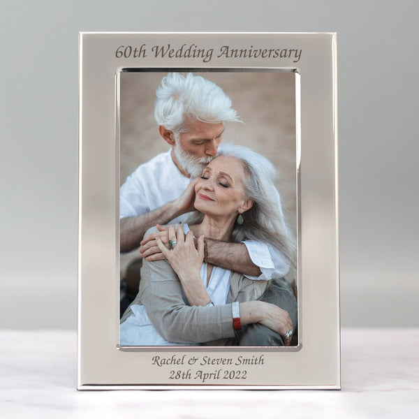 Personalised Silver 4x6 60th Wedding Anniversary Photo Frame