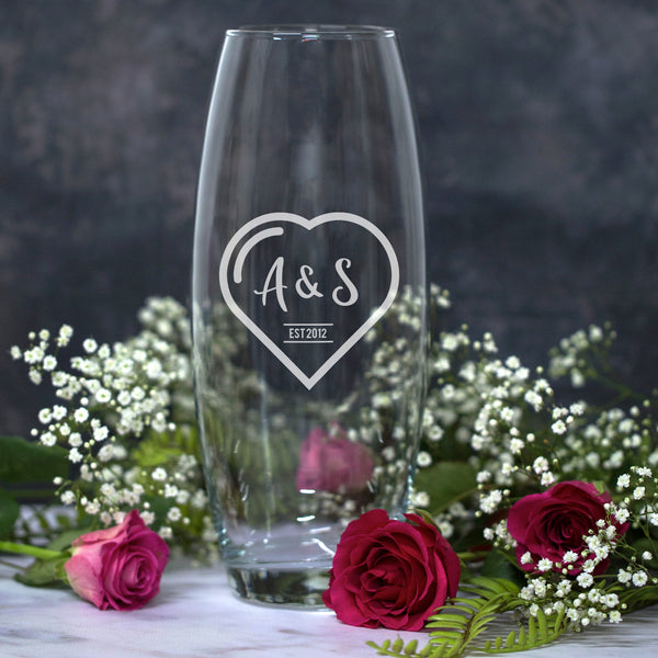 Personalised Heart Monogram Glass Bullet Vase