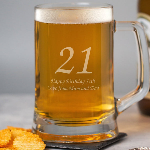 Personalised Birthday Age Glass Pint Stern Tankard