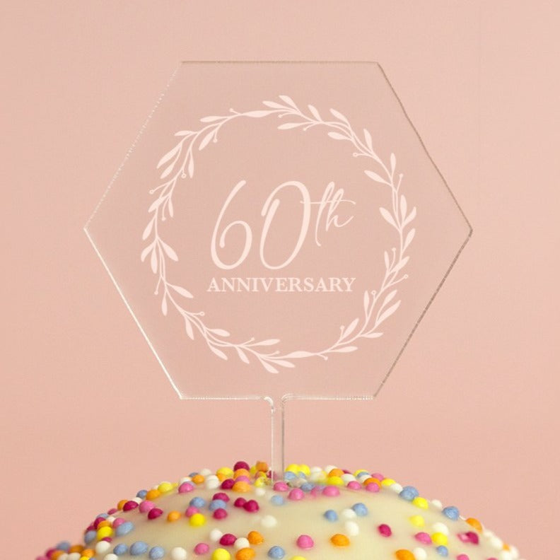 Personalised Anniversary Hexagon Acrylic Cake Topper