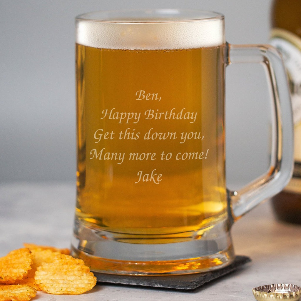 Personalised Any Message Glass Pint Stern Tankard