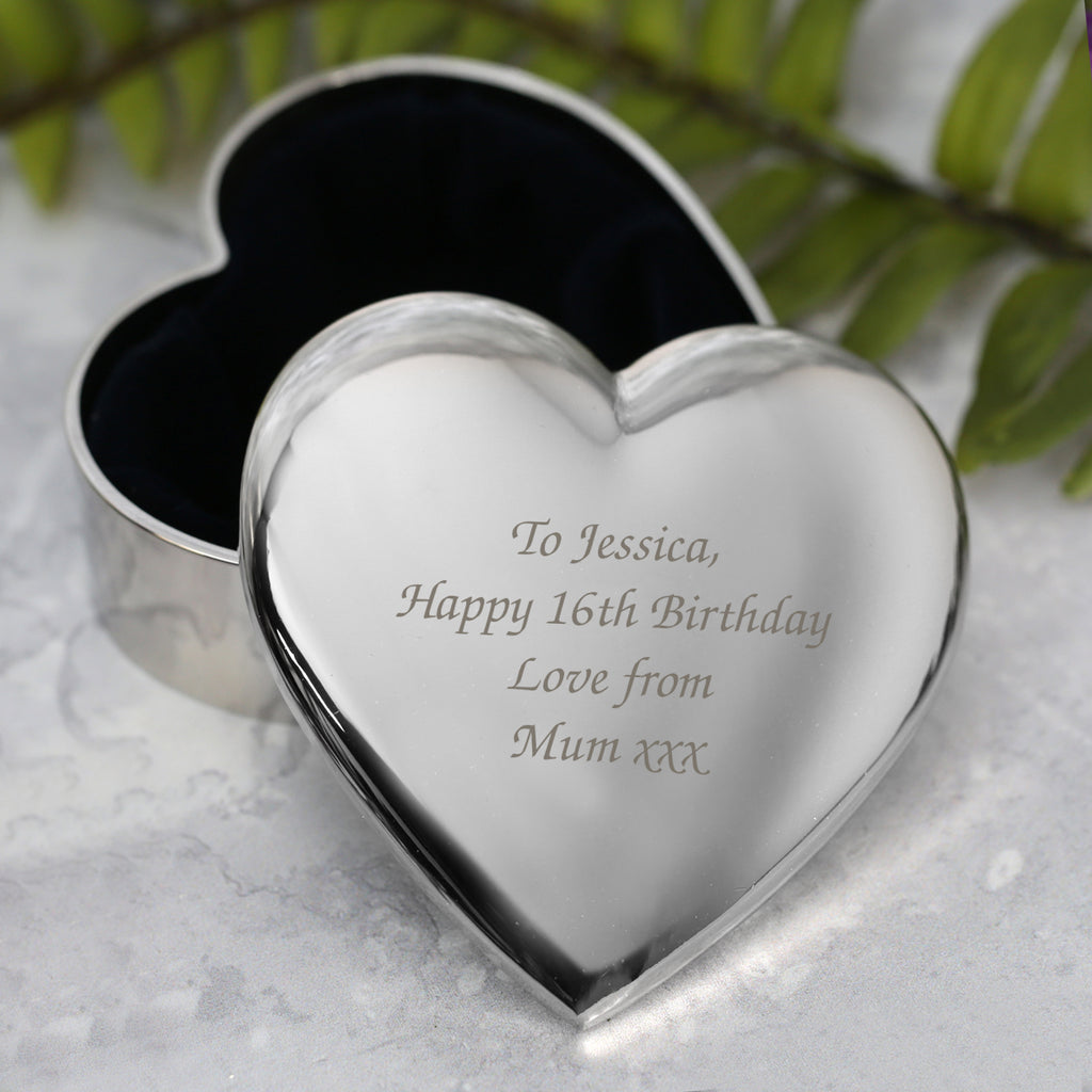 Personalised Any Message Heart Trinket Box