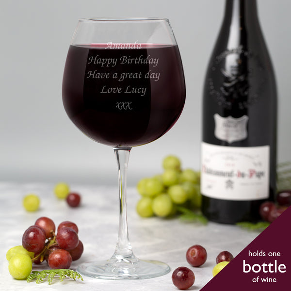 Personalised Any Message Full Bottle Of Wine Glass