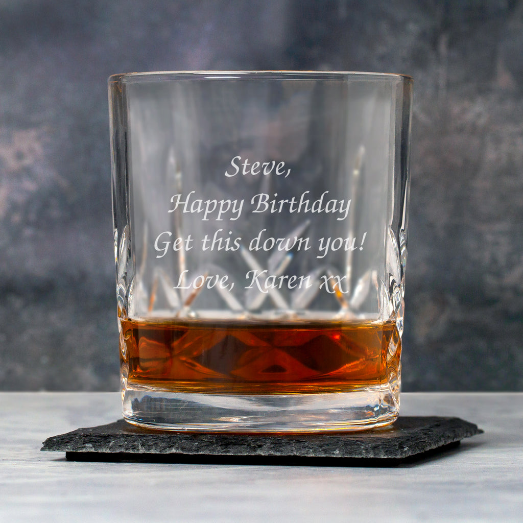 Personalised Message Crystal Panel Glass Tumbler