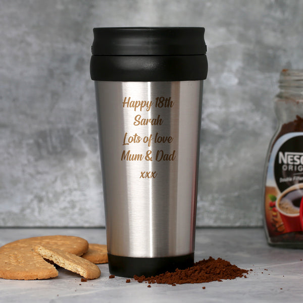 Personalised Any Message Stainless Steel Travel Tumbler