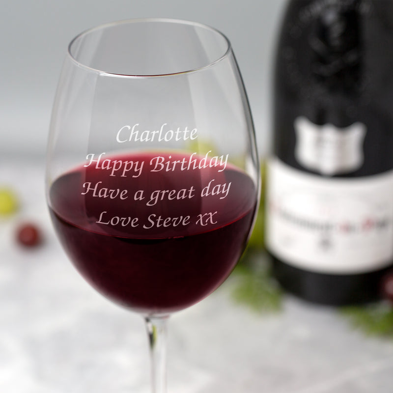 Personalised Large Any Message Wine Glass