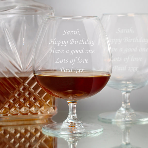 Personalised Any Message Brandy Glass